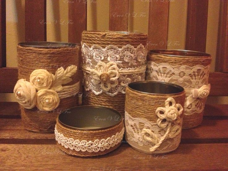 upcycled tins - jute string, lace, string and fabric flowers, trimmings etc. upcycling, upcycled crafts, crafts