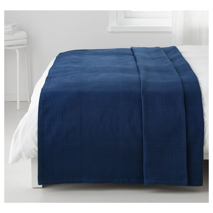 INDIRA çift kişilik yatak örtüsü mavi 250x250 cm   IKEA Ev Tekstili
