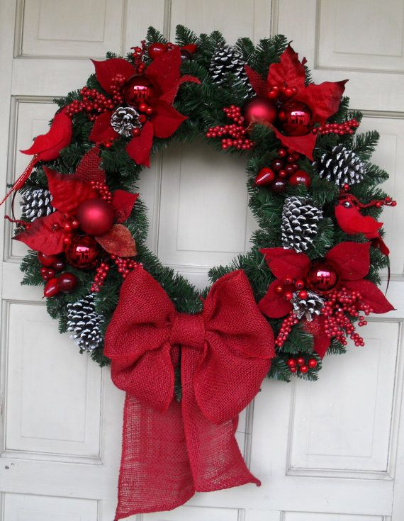 """Beautiful 25"""" Red Robin Traditional Style Christmas Wreath - I could do this myself for much cheaper! :D Very pretty."""