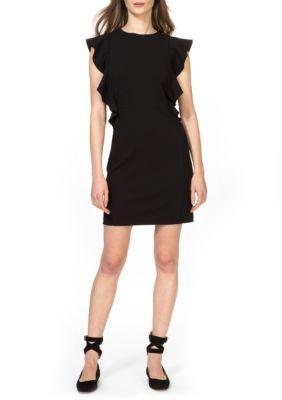 Donna Morgan Women's Ruffle Crepe Sheath Dress - Black - 16