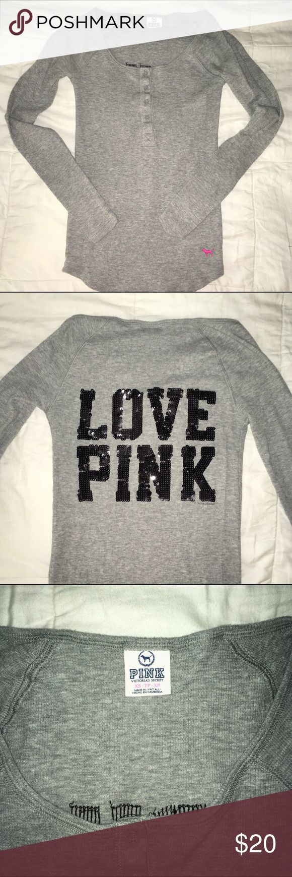Victoria's Secret Pink Waffle Shirt This is a size xs lightweight grey waffle shirt from VS pink. The back says love pink in black sequence, and this shirt is in great condition! PINK Victoria's Secret Tops Tees - Long Sleeve