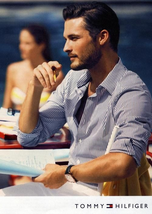 Tommy Hilfiger: Summer Looks, Summer Style, Men Style, Dresses Shirts, White Pants, Men Fashion, Tommy Hilfiger, Stripes Shirts, Hair