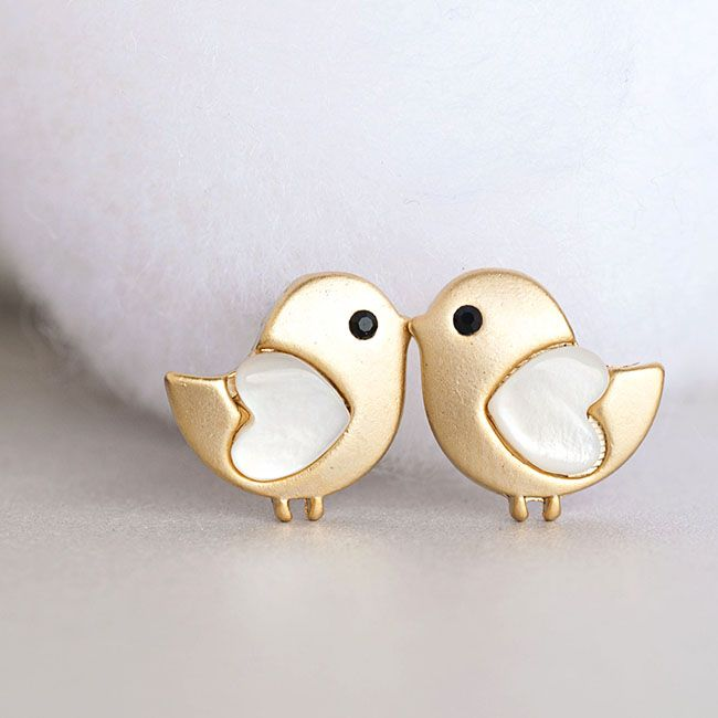 Gold Baby Stud Earrings Tiny Bird Ear Post Adorable Whimsical Jewelry