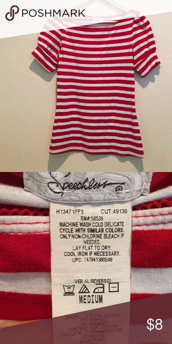 Red Striped Women's Top I wore this for a themed party and it was a huge hit! It has some sewing details that make the shoulders look super cute! It says it's a medium but it seems to fit a little tight. Speechless Tops Blouses