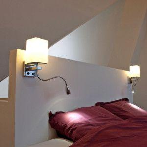 Aplique de pared BRESCIA - ¡La solución perfecta para leer en la cama! Estas lámparas pueden dar luz ambiental o focalizada.