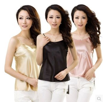 Free shipping women's summer new slim silk sling vest http://tinyurl.com/ngzy4ue #womenfashion #top #tshirt #fashiontshirt #silkvest #silk #vest