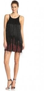 PARKER WOMEN'S MONACO BEADED FEATHER HEM DRESS