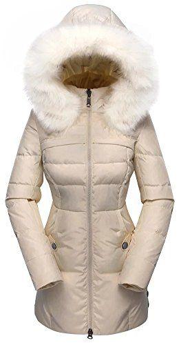 Valuker Women's Down Coat With Fur Hood 90D Parka Puffer Jacket 57-Beige-XS