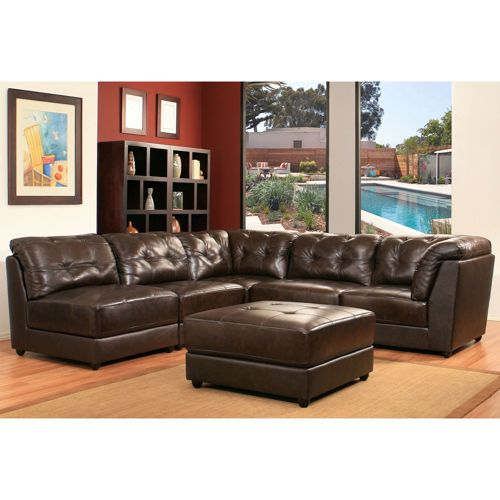 ... Top Grain Leather Modular Sectional   Brown Item Features: Top Grain  Leather, Brown, 2 Corner Chairs, 3 Armless Chairs And 1 Ottoman, By Abbyson  Living®