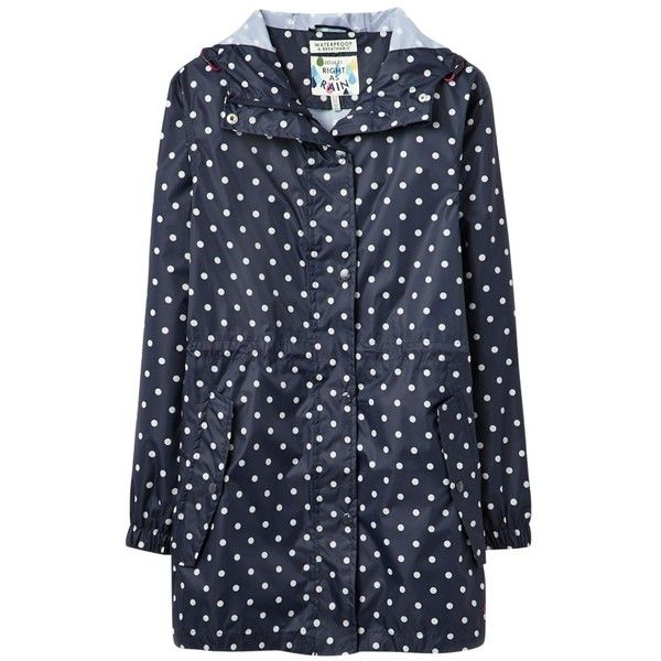 Joules Golightly Pack Away Waterproof Parka, Navy Spot (€62) ❤ liked on Polyvore featuring outerwear, coats, waterproof coat, polka dot coat, navy blue parka, joules coats and waterproof parka