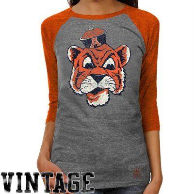 adidas Auburn Tigers Ladies Supersize Fan Raglan T-Shirt - Ash/Burnt Orange