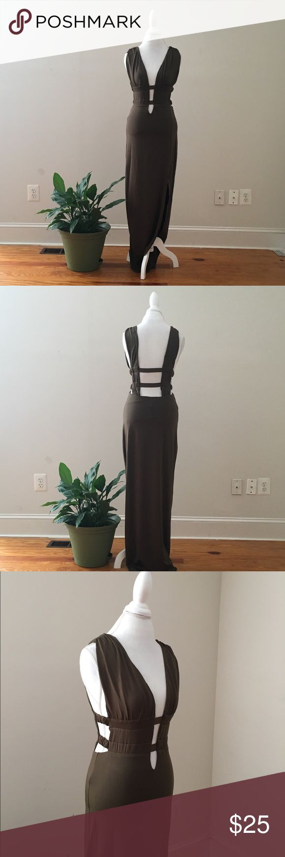 Olive plunge dress This listing features a seductive olive dress with a plunging neckline and a side split. Dresses Maxi