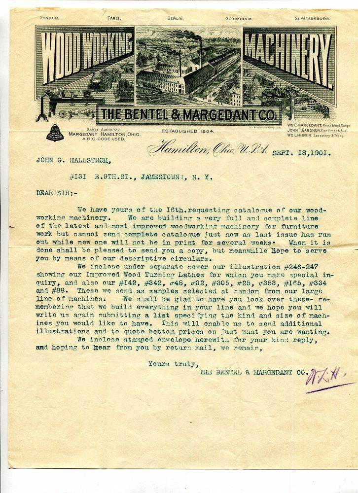 Vintage Illus Letterhead BENTEL & MARGEDANT WOODWORKING MACHINERY Hamilton OH
