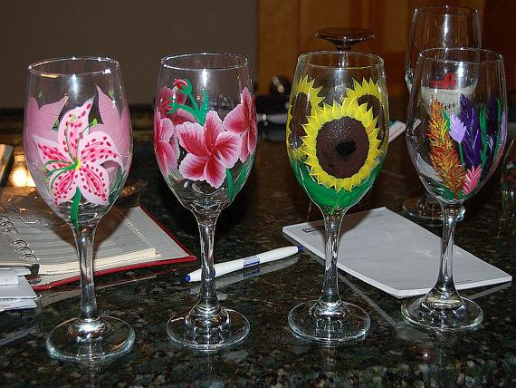 117 best images about painted glass flowers on pinterest for Do it yourself wine glasses