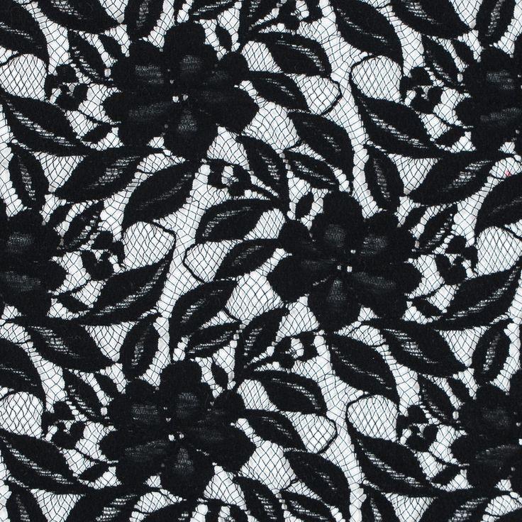 Oscar de la Renta Black Floral Lace