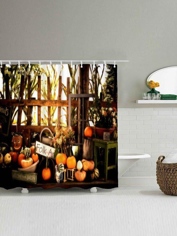 Pumpkin Waterproof Halloween Shower Curtain - COLORMIX W71 INCH * L79 INCH