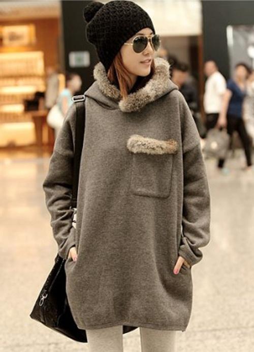 Fuzzy Side Pocket Gray Hairy Hooded Long Hoodies Item Code:#JJ81745+Gray US$11.10