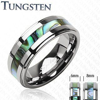 Tungsten Carbide Ring With Abalone Inlay Step Design; Comes with Free Gift Box Jinique. $28.99. High Quality Tungsten Ring. Comes with Free Gift Box. Abalone Inlay. Band Width: Size 5~8 - 6mm; Size 9~13 - 8mm. Comfort Fit