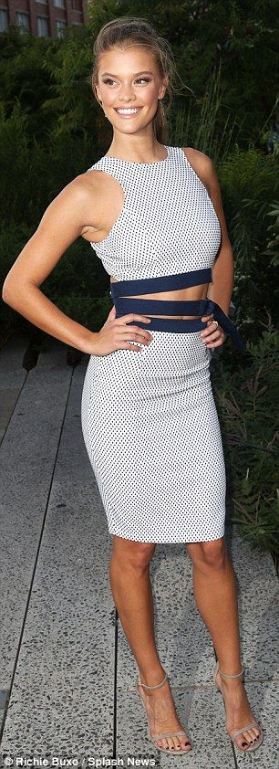 Nina Agdal NYC stuns showing midriff in skirt and crop top ensemble #dailymail