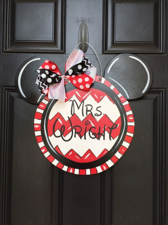 Personalized Wooden hand painted Mickey Mouse Minnie Mouse ...