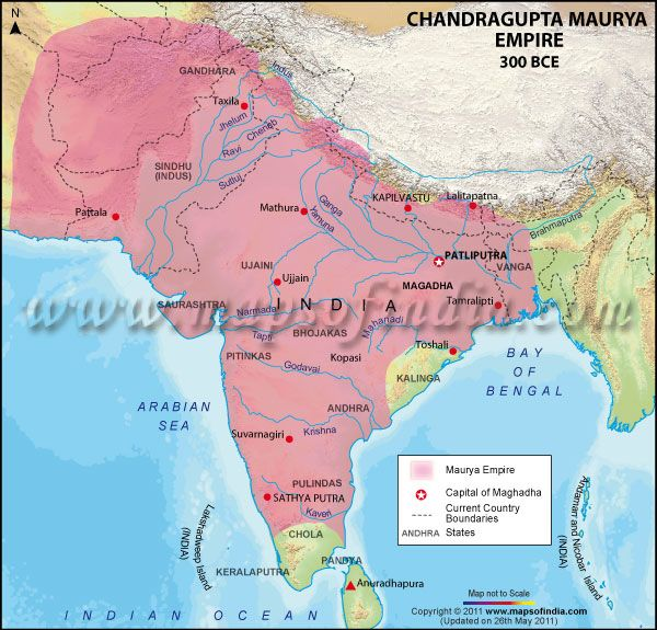 chandragupta extended the mauryan empire southward into into the deccan plateau 300 bc map showing their capital boundaries and cities