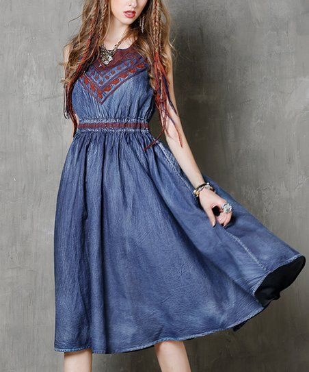 5a5f7f782e Keer Qiaowa Blue Denim Abstract-Contrast Midi Dress