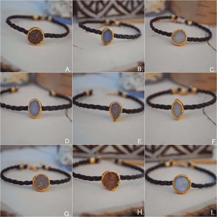 <<<DRUZY LEATHER BRACELET>>> 24kt Gold Electroformed Druzies and Braided Leather Choker ~6 inches with 1.5'' extender Please choose your exact bracelet at checkout.  Electroforming is a specialized plating process on organic matter, such as gemstones, bone and anything other than m