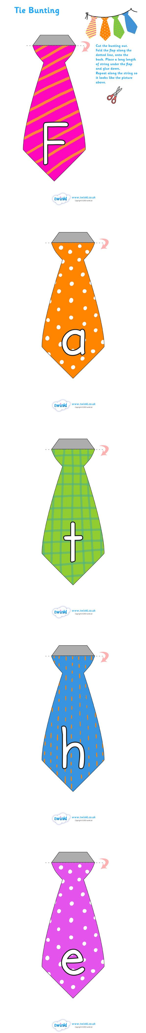 Tie Shaped Fathers Day Display Bunting   - Pop over to our site at www.twinkl.co.uk and check out our lovely Father's Day primary teaching resources! Father's day, Dad, Bunting, Display #Father'sDay #Father'sDay_Resources