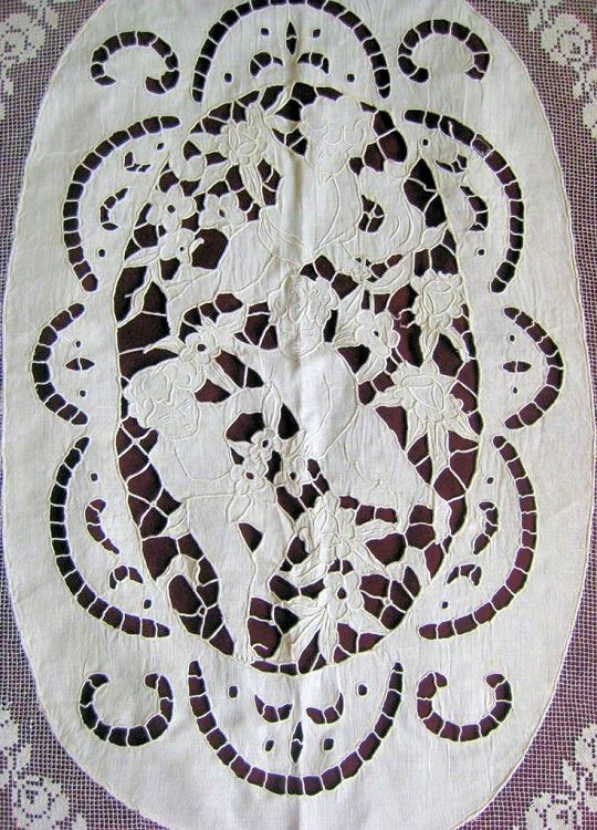 Antique Italian Hand Embroidered & Filet Lace Cherubs Coverlet