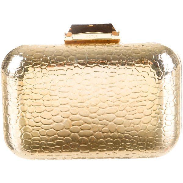 Kotur Metallic Clutch found on Polyvore featuring bags, handbags, clutches, gold, gold clutches, handbags purses, gold hand bag, beige handbags and gold metallic purse