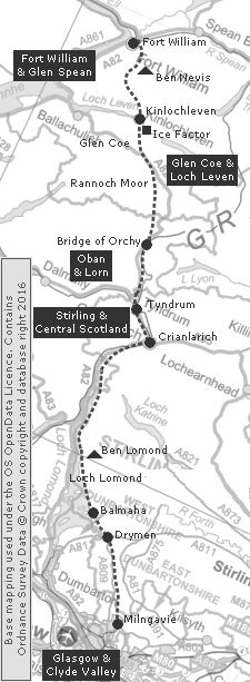 Long Distance Walk - Clickable Map of the West Highland Way