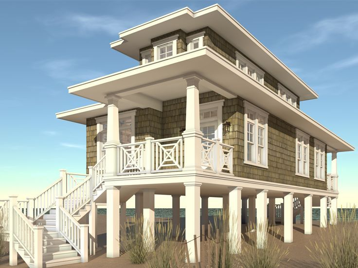 17 best ideas about beach house plans on pinterest beach for Concrete pilings for house