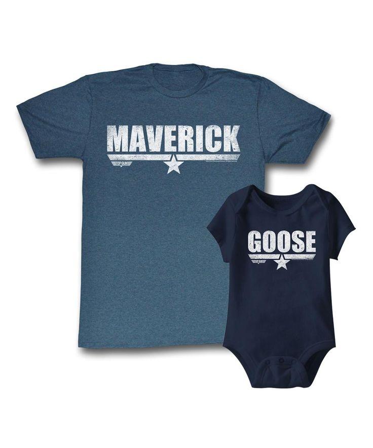 Top Gun Maverick and Goose matching dad and baby tees.