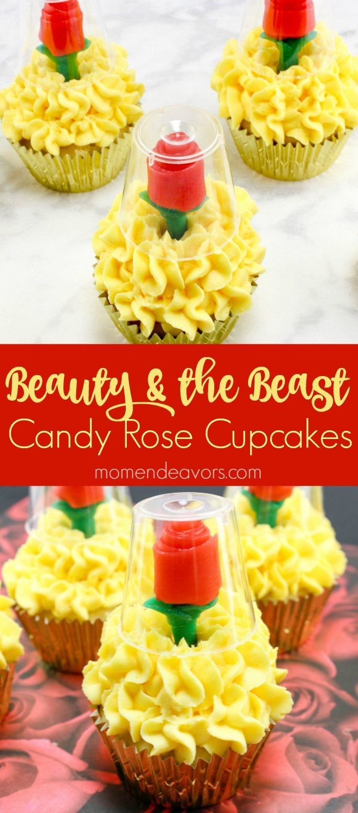 Beauty & the Beast Candy Rose Cupcakes - perfect for a Beauty and the Beast party or just some movie night fun!