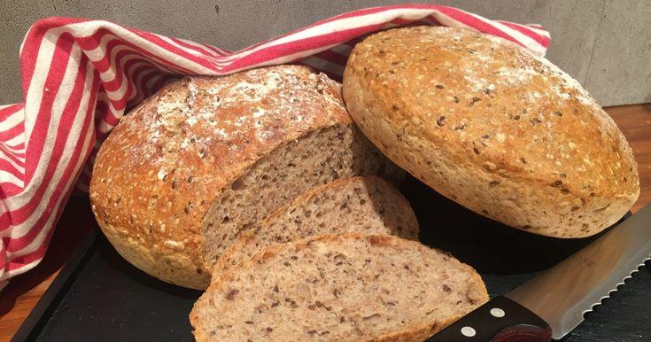 Et enkelt og smakfullt brød. Du kan sette deigen kvelden før og familien får et av verdens beste brød til frokost