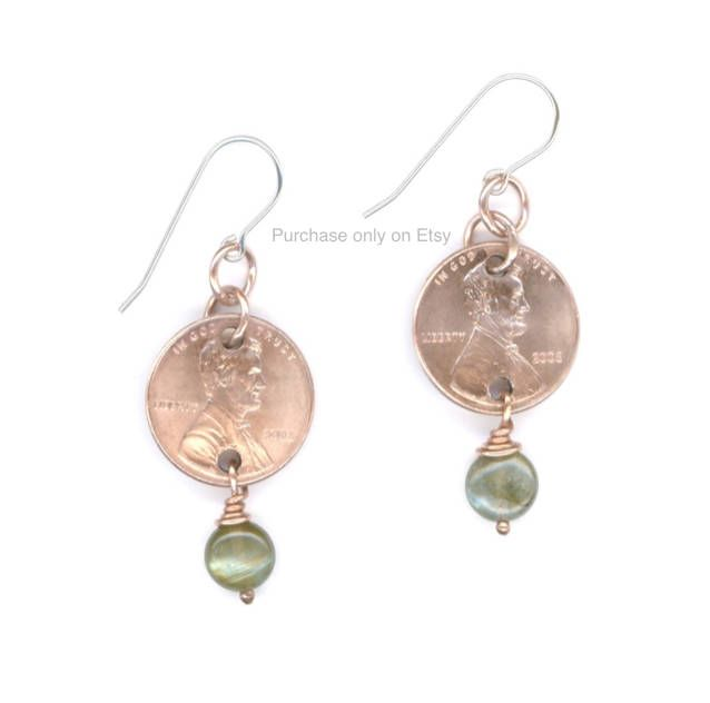 10th Anniversary Gifts For Her 2008 Penny Labradorite Earrings Jewelry Birthday Gift Ideas For Women Birthday Gifts For Best Friend by WvWorksJewelry on Etsy