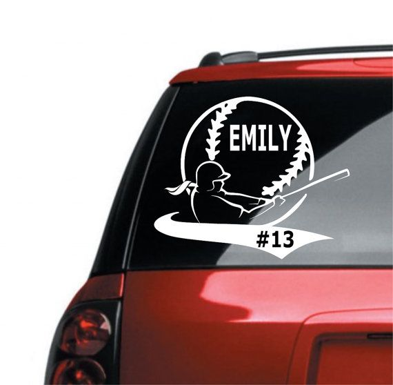Softball car decal vinyl lettering high school sports custom personalizeed softball decal decal