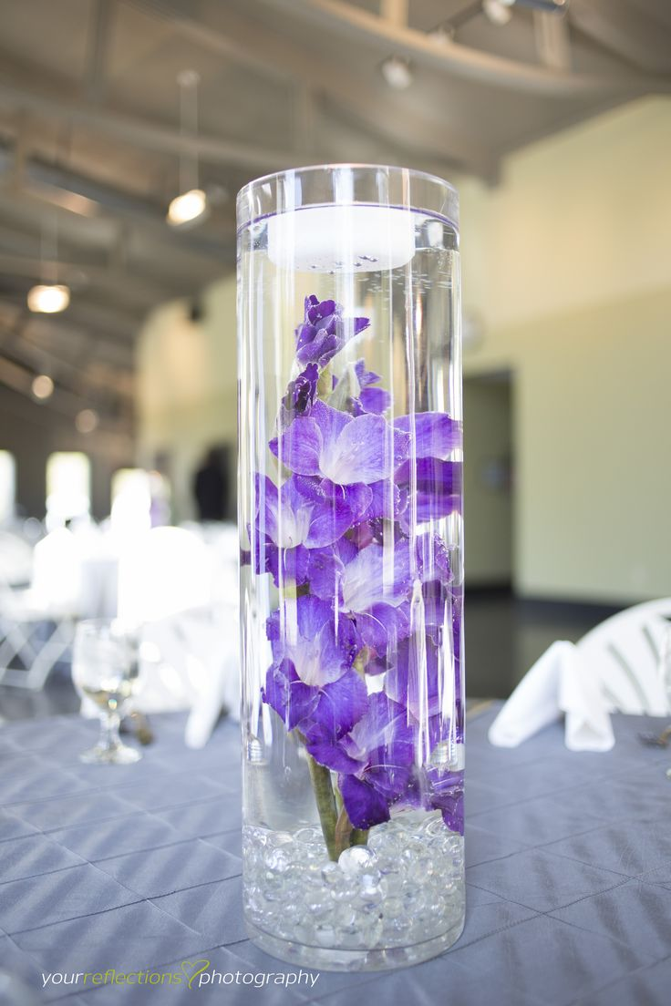 Gladiolas submerged flowers purple wedding flowers for Cheap wedding table decorations ideas