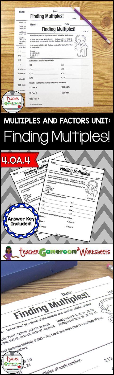 Finding Multiples Worksheets 4.OA.4 Elementary teacher