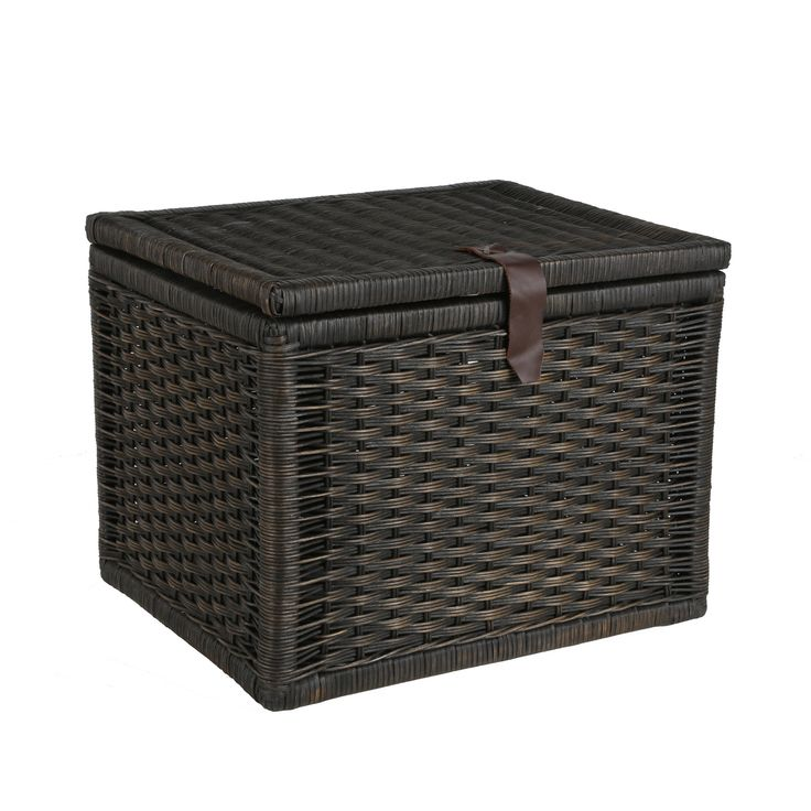 Small Wicker Storage Trunk in Antique Walnut Brown from The Basket Lady