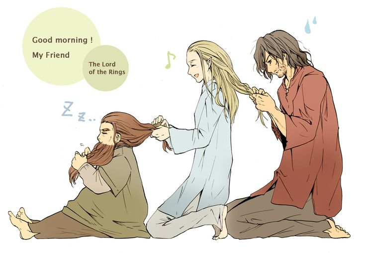 Broship braiding party! But poor Aragorn doesn't look like he's having as much fun. Art by Anare on Zerochan