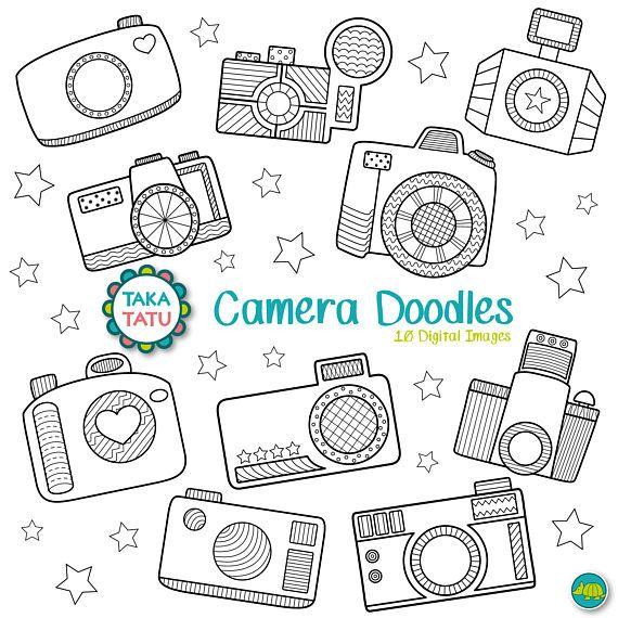 Camera Doodles Digital Stamp Pack Black And White Clipart Etsy In 2021 Camera Clip Art Digital Stamps Doodle Frames