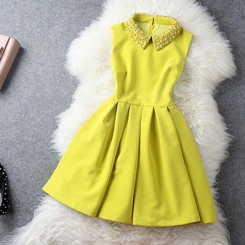 Handmade Beadings A-line Pure Color Short Dress