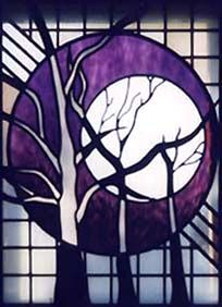 Trees and Moon Stained Glass Window, Helen Watson Stained Glass