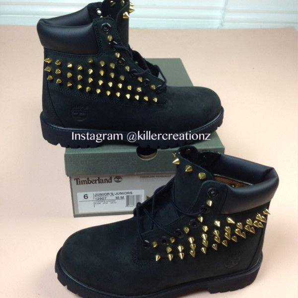 Custom spiked BLACK Timberland boots -any size - made to order ($195) ❤ liked on Polyvore featuring shoes, boots, sneakers, botas, black shoes, kohl shoes, spike shoes, kohl boots and timberland footwear