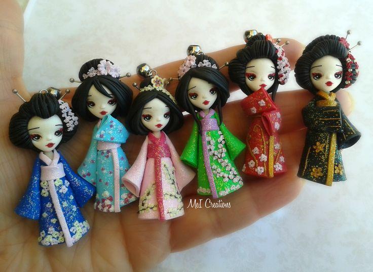 Geishe, Bamboline In Fimo, Polymer Clay. Handmade Dolls