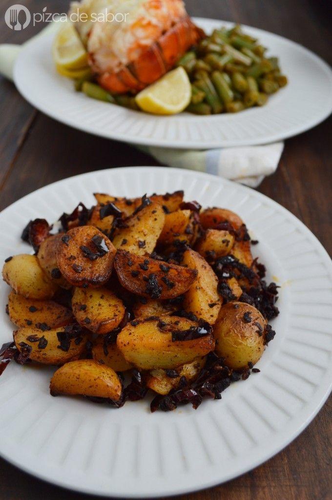 Papas al ajillo (con ajo y chile) | http://www.pizcadesabor.com