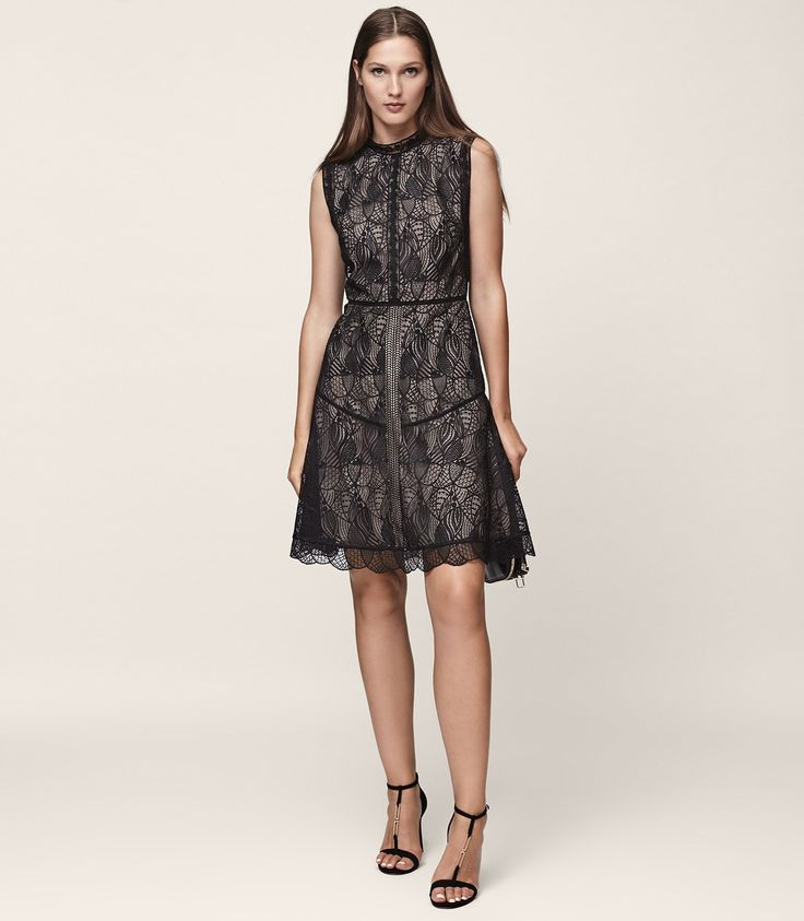 Tori Black Lace Fit And Flare Dress - REISS