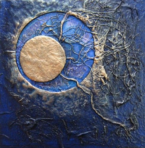 Mixed Media Artists | Blue Moon 111 Textured Mixed Media Abstract Art