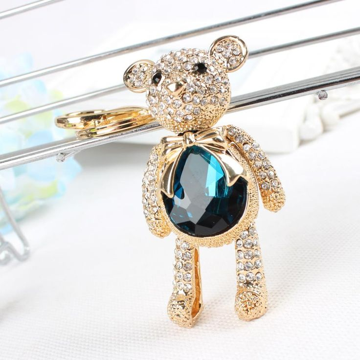 Lovely Bear Butterfly Cute Crystal Rhinestone Charm Pendant Purse Bag Car Key Ring Chain Creative Wedding Party Gift